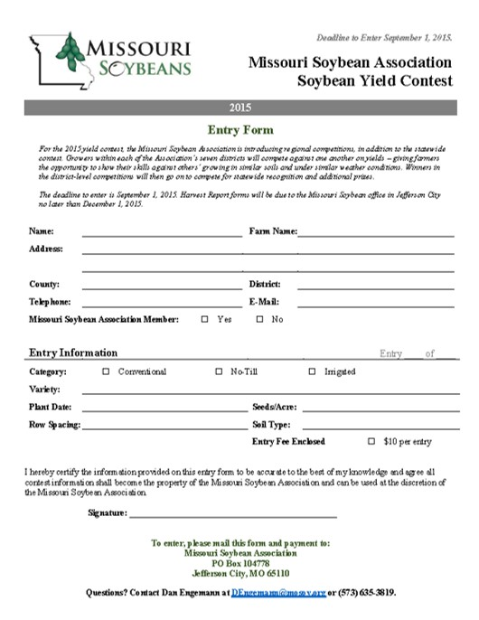 the wall sweepstakes entry form missouri soybean yield contest harvest forms due dec 1 8052