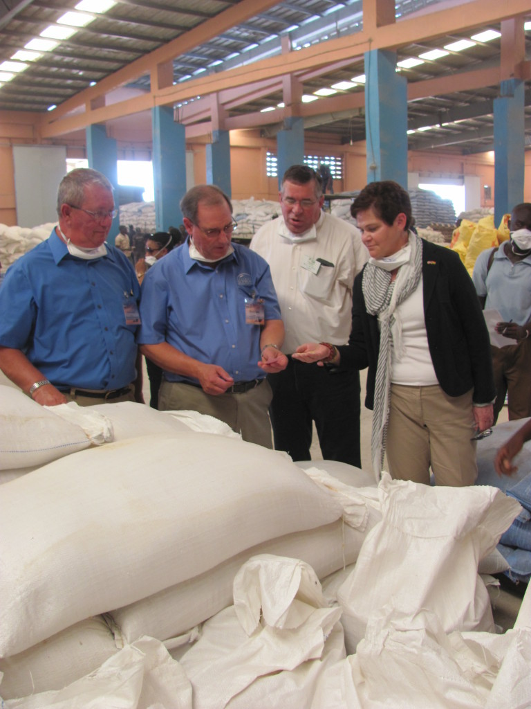 From left: David Lueck and Illinois soybean leaders Daryl Cates and Bill Wykes join USDA Deputy Secretary Krysta Harden at the Akate feed mill that is already purchasing U.S. soybean meal.