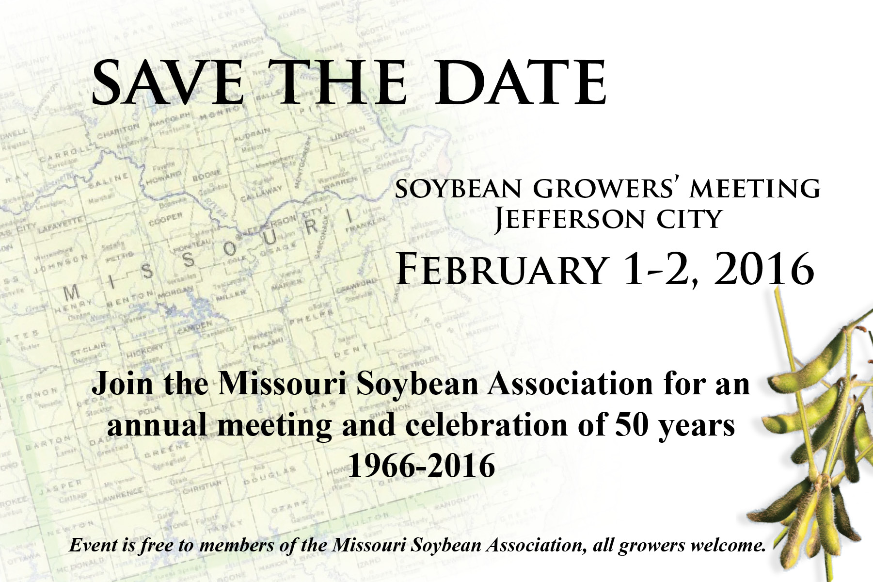 Save the Date – Missouri Soybean Association Annual Meeting, 50th Anniversary