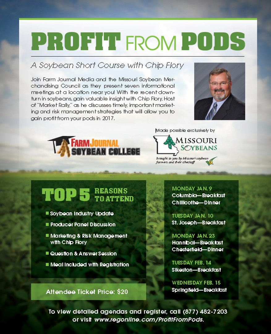 Profit from Pods: Soybean Short Courses with Chip Flory Set for 2017