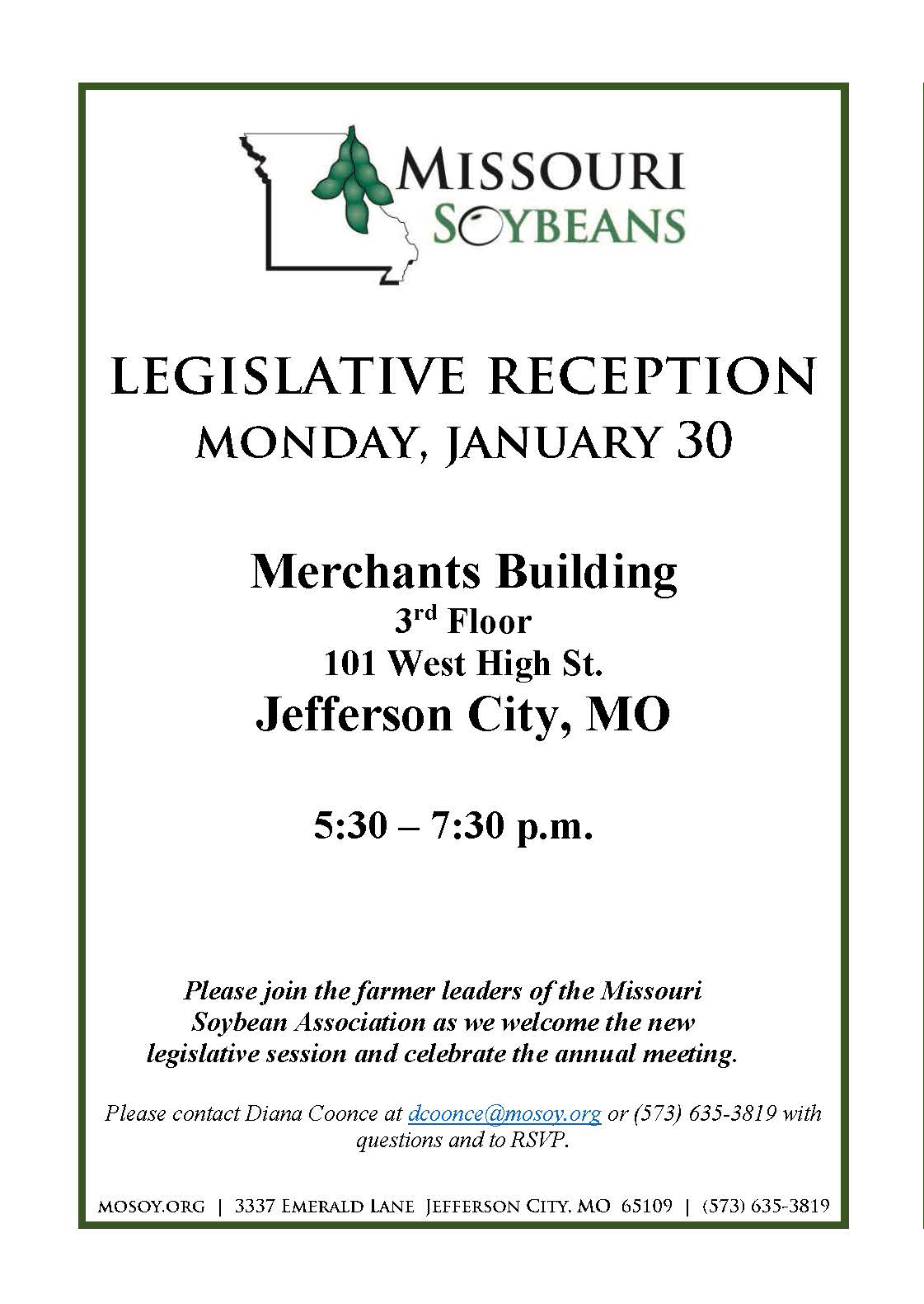 Missouri Soybean Association Legislative Welcome and Annual Meeting Set