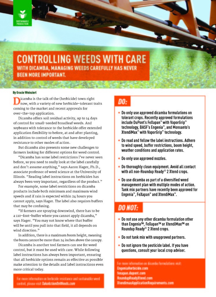 Controlling Weeds with Care – Update on Dicamba Formulations